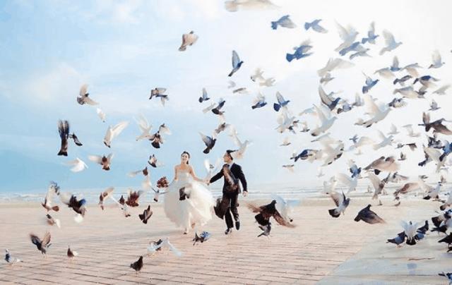 Khoảnh khắc hạnh phúc của cặp đôi tại Công viên Biển Đông