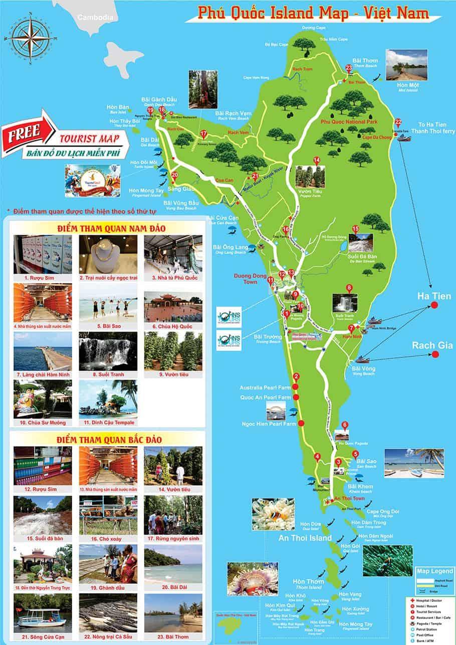 Bản đồ các địa điểm vui chơi tại Phú Quốc