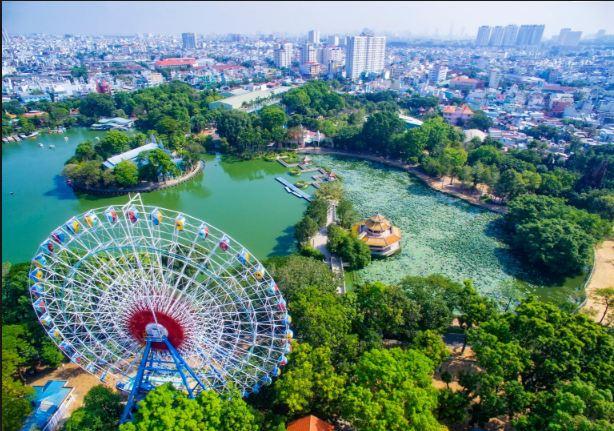 Review sơ đồ công viên Đầm Sen từ trên cao