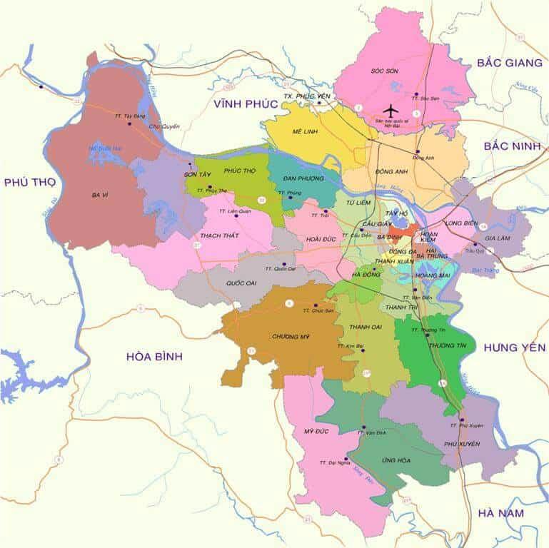 Bản đồ các quận Hà Nội