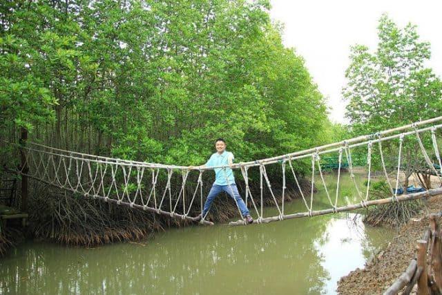 Thú vị đi qua cầu Khỉ tại tour khu du lịch Vàm Sát Cần Giờ(Ảnh: ST)