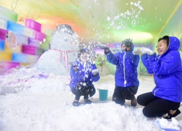 Nhóm bạn trẻ đang vui trơi bên tuyết