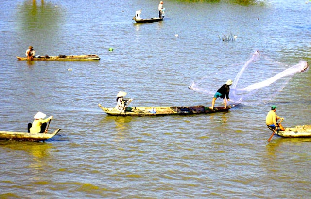 Bắt cá ở cửa sông đổ ra biển Cửa Đại (Ảnh: ST)