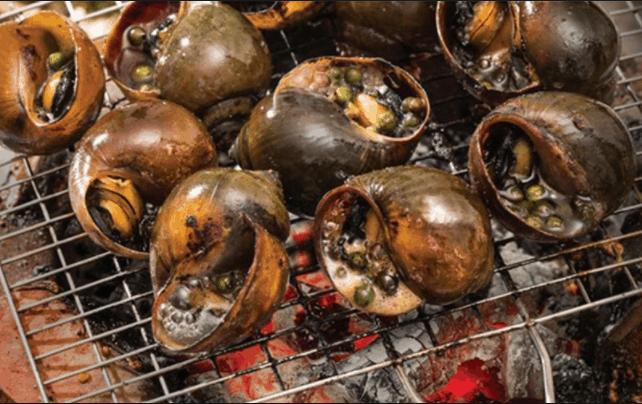 Món ốc bươu nướng tiêu hấp dẫn khách du lịch
