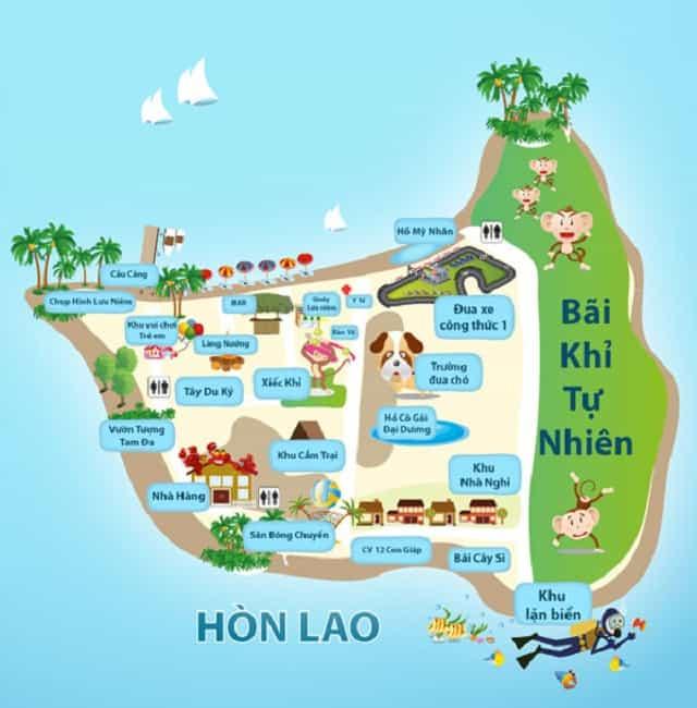 Bản đồ Đảo Khỉ Nha Trang (Ảnh ST)