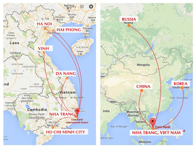 Đường bay chính từ sân bay Cam Ranh (Ảnh ST)