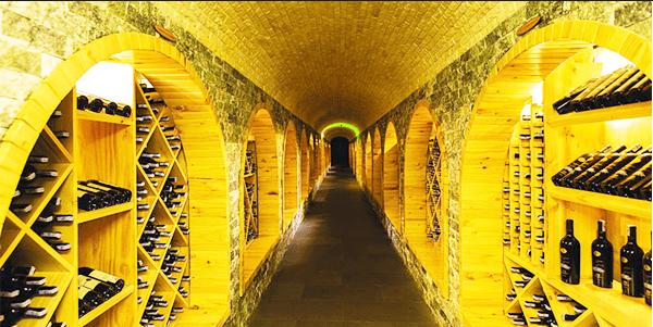 Hơn 20.000 chai rượu vang được xếp 2 bên dọc lối đi