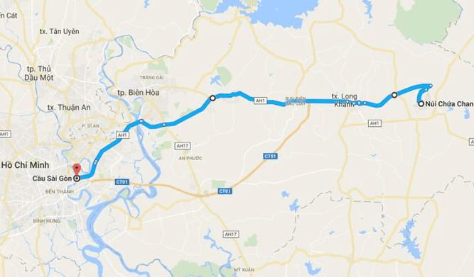 Bản đồ đường đi tới núi Chứa Chan
