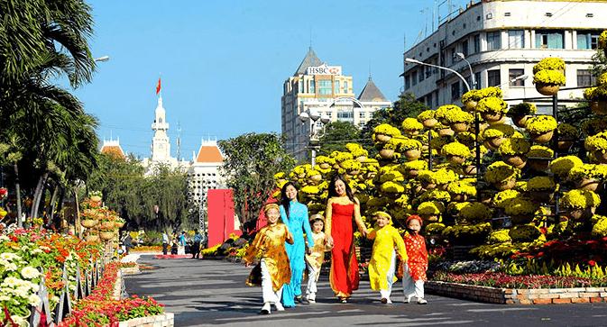 Một góc đường hoa ngày Tết Nguyễn Huệ