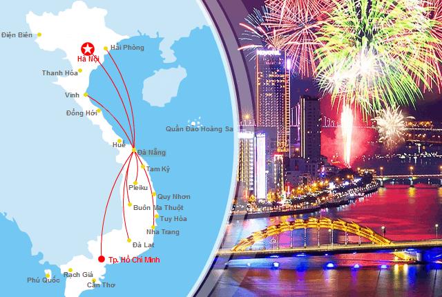 Một số đường bay nội địa từ Đà Nẵng (Ảnh ST)