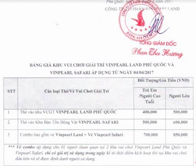 giá vé vui chơi Vinpearl Phú Quốc